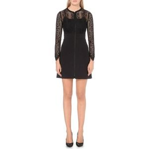 [Sandro] Black Long Sleeve Lace Zip Up Mini Dress